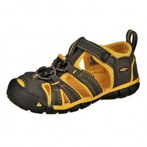Dětská obuv KEEN Seacamp   /raven/yellow -  Sandály