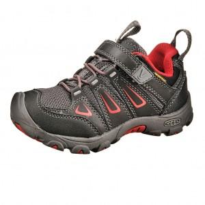Dětská obuv KEEN Oakridge low WP  /black/tango red -  Do hor nebo nížin