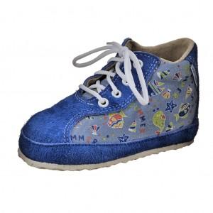 Dětská obuv Capáčky PEGRES 1093 /modrá rybka -  První krůčky