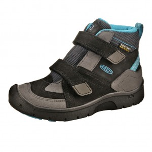 Dětská obuv KEEN Hikeport MID strap WP  /black/blue jewel -  Sportovní