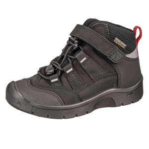 Dětská obuv KEEN Hikeport MID WP  /black/bright red -  Sportovní