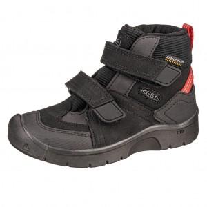 Dětská obuv KEEN Hikeport MID strap WP  /black/bright red -  Sportovní