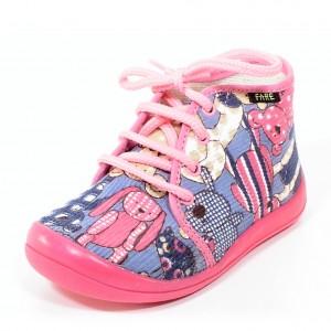 Dětská obuv FAREčky   /růžoví medvědi šněrovací -